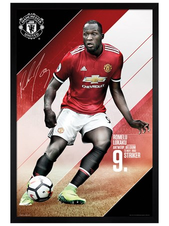 Black Wooden Framed Romelu Lukaku 17-18 - Manchester United