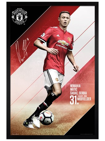 Black Wooden Framed Matic 17-18 - Manchester United