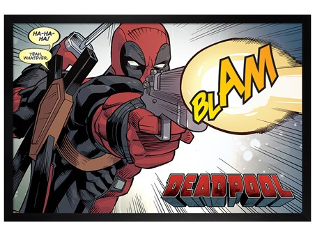 Black Wooden Framed Blam - Deadpool