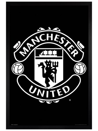 Black Wooden Framed Crest 17-18 - Manchester United