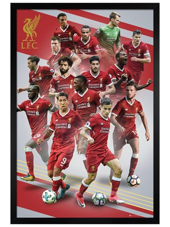 Black Wooden Framed Players 17-18 - Liverpool FC