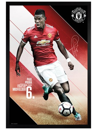 Black Wooden Framed Pogba 17-18 - Manchester United