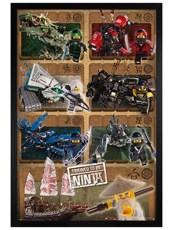 Black Wooden Framed Ninjas & Mechs - LEGO® Ninjago Movie