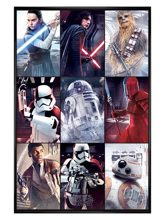Gloss Black Framed The Last Jedi Characters - Star Wars