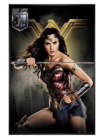 Gloss Black Framed Wonder Woman - Justice League