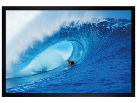 Framed Black Wooden Framed Riding The Wave - A Deep Blue View Poster