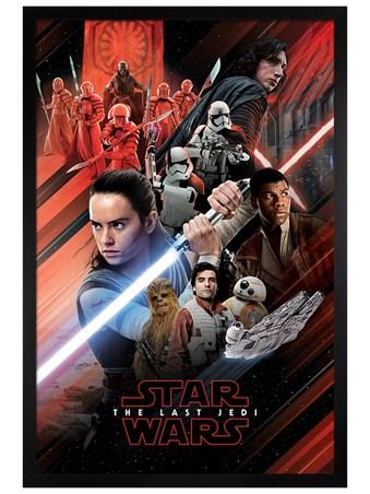 Black Wooden Framed Red Montage - Star Wars The Last Jedi