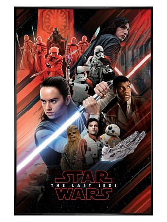 Gloss Black Framed Red Montage - Star Wars The Last Jedi