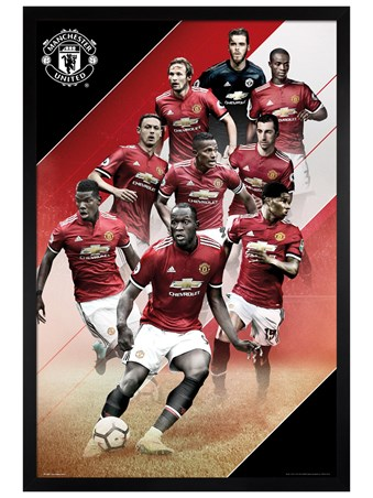 Black Wooden Framed Players 17-18 - Manchester United