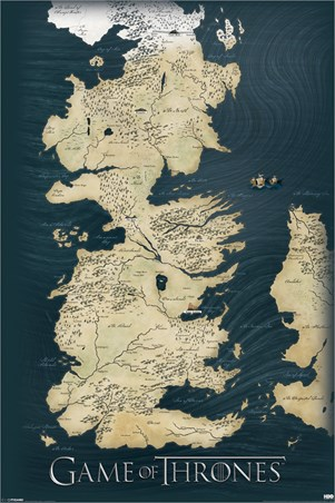 The Seven Kingdoms of Westeros Map, Game of Thrones