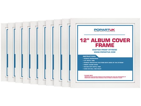 "Framed 12"" Vinyl Record Cover Album - White - Multipack of 10"
