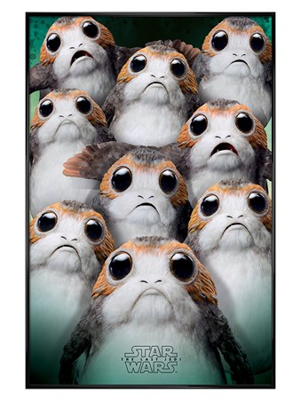 Gloss Black Framed Many Porgs - Star Wars The Last Jedi