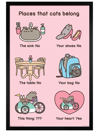 Black Wooden Framed Places Cats Belong, Pusheen