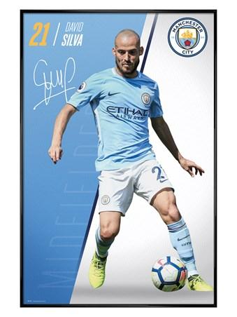 Gloss Black Framed Silva 17-18 - Manchester City