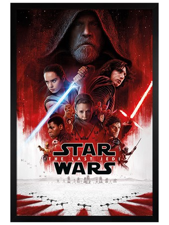 Black Wooden Framed The Last Jedi One Sheet - Star Wars