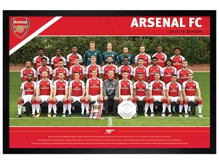 Black Wooden Framed Team 17/18 - Arsenal