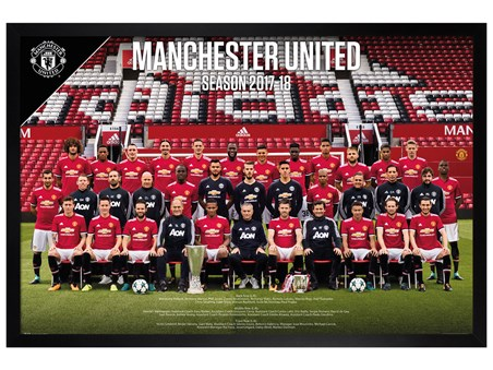 Black Wooden Framed Team Photo 17-18 - Manchester United