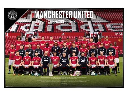 Gloss Black Framed Team Photo 17-18 - Manchester United