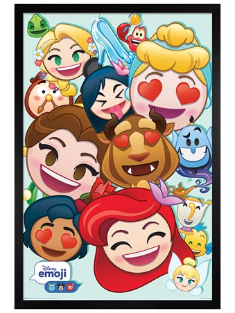 Black Wooden Framed Emoji Princess - Disney