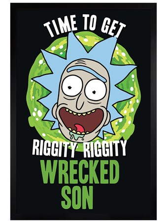 Black Wooden Framed Wrecked Son - Rick and Morty
