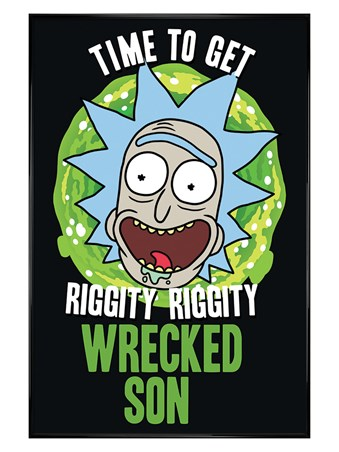 Gloss Black Framed Wrecked Son - Rick and Morty