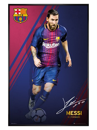 Gloss Black Framed Messi 17-18 - Barcelona