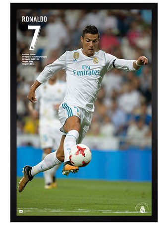 Black Wooden Framed Ronaldo 17/18 - Real Madrid