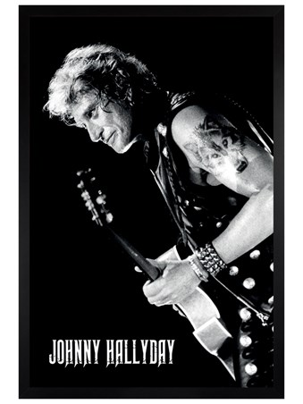 Black Wooden Framed Lone Wolf - Johnny Hallyday