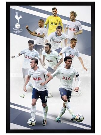 Black Wooden Framed Players 17-18 - Tottenham FC
