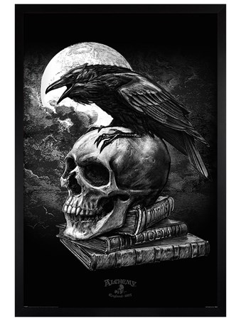 Black Wooden Framed Poe's Raven - Alchemy