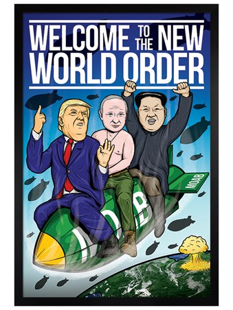 Black Wooden Framed Welcome To The New World Order - Political Humour
