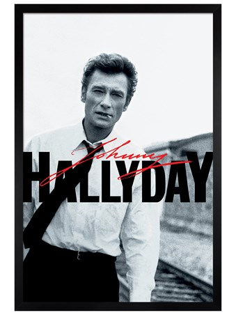 Black Wooden Framed Train Tracks - Johnny Hallyday