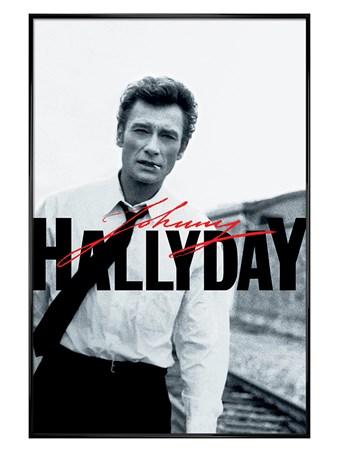 Gloss Black Framed Black & White - Johnny Hallyday