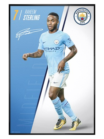 Gloss Black Framed Sterling 17-18 - Manchester City