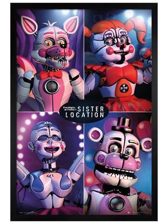 Framed Black Wooden Framed Sister Location Quad - Five Nights at Freddy's