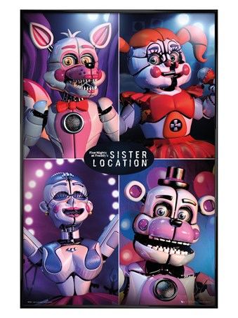 Gloss Black Framed Sister Location Quad - Five Nights at Freddy's