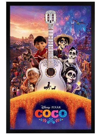 Black Wooden Framed Día de Muertos Guitar - Disney Coco
