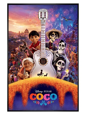 Gloss Black Framed Día de Muertos Guitar - Disney's Coco