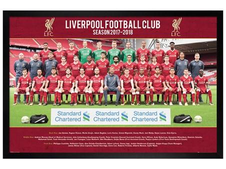 Black Wooden Framed Team Photo 17-18 - Liverpool