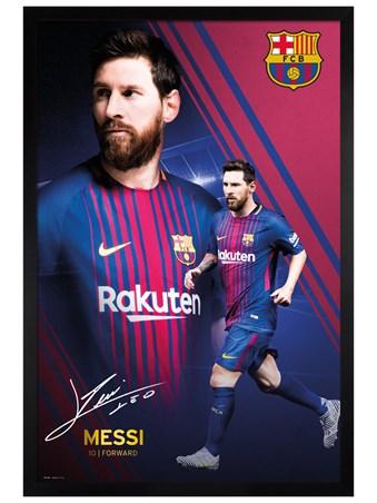 Black Wooden Framed Messi Collage 17-18 - Barcelona