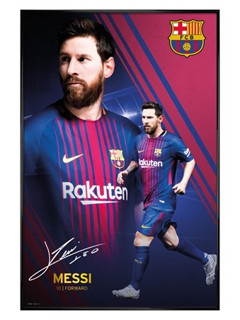 Gloss Black Framed Messi Collage 17-18 - Barcelona