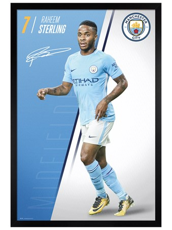 Black Wooden Framed Sterling 17-18 - Manchester City