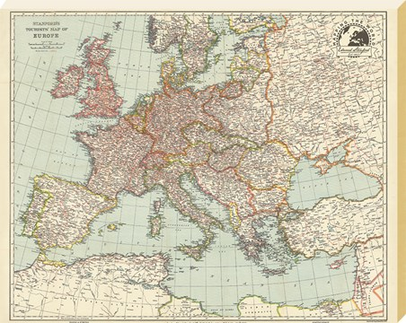 Stanfords Tourists Map of Europe - 1928