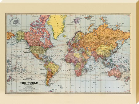 Stanfords Sepia General Map of the World - 1920