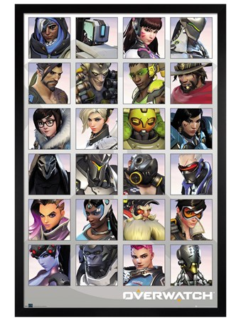 Black Wooden Framed Character Portraits - Overwatch