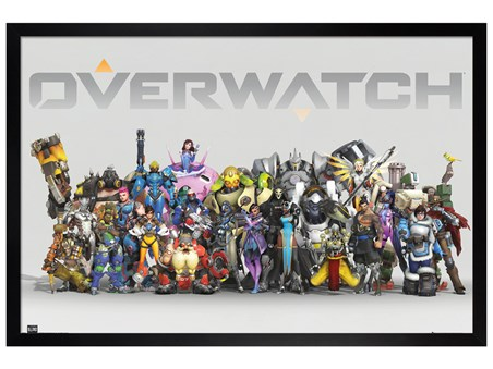 Black Wooden Framed Anniversary Line Up - Overwatch