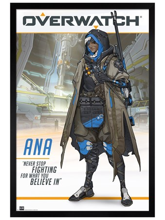 Black Wooden Framed Ana The World's Most Elite Sniper - Overwatch