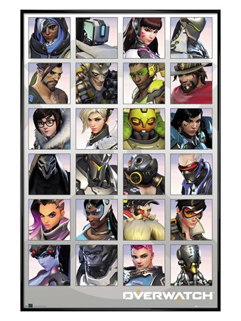 Framed Gloss Black Framed Character Portraits - Overwatch