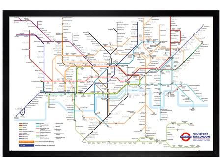 Black Wooden Framed Underground Map, Transport For London