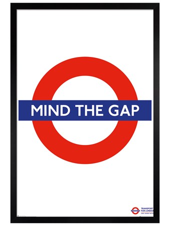 Black Wooden Framed Mind The Gap - Transport For London